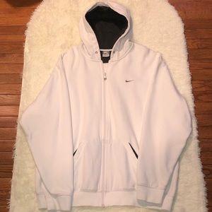 NIKE—Men's White Full Zip Jacket With Gray Detail
